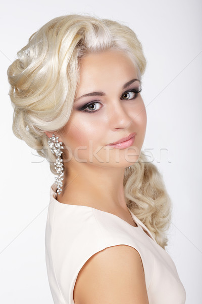 Elegance. Confident Groomed Blonde with Costume Jewelry Stock photo © gromovataya