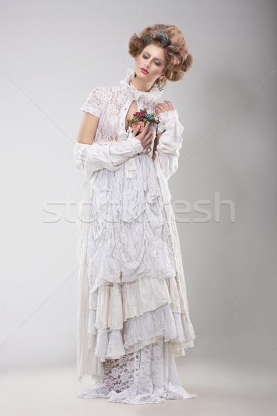 Finery. Glamorous Lady in Elegant Lacy Dress Stock photo © gromovataya