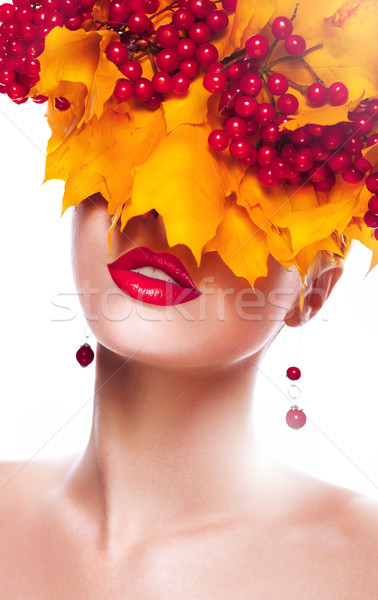 Fall. Woman with Wreath of Maple Leaves and Berries Stock photo © gromovataya