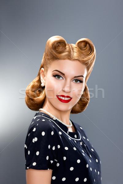 Pin-up Style. Styled Fashion Model in Retro Dress - Glamour Stock photo © gromovataya