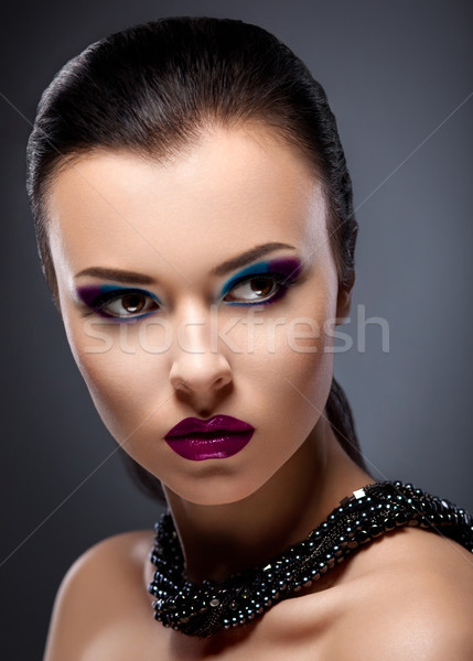 Strict Face of  Bright Honorable Brunette with Glossy Necklace Stock photo © gromovataya