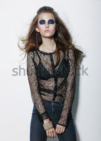 Character. Charismatic Fashion Model with Dramatic Fancy Makeup Stock photo © gromovataya