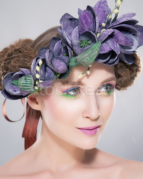 Hairstyle - beautiful young female in colorful wreath of flowers Stock photo © gromovataya