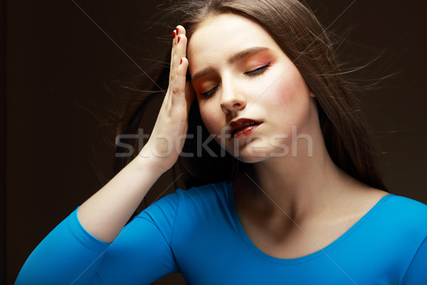 Distress. Woe. Upset Tired Woman Touching her Forehead. Difficulties Stock photo © gromovataya