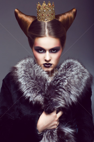 Nobility. Honorable Princess with Golden Crown. Creative Concept Stock photo © gromovataya