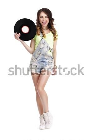 Excited Woman with Vinyl Record Showing Victory Sign Stock photo © gromovataya