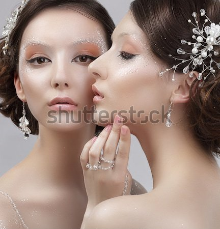 Sensuality. Two Romantic Young Women Girlfriends dating. Desire & Passion Stock photo © gromovataya