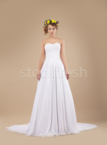 Espousal. Bride Fashion Model with Wreath of Flowers in White Dress Stock photo © gromovataya