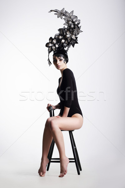 Artistic Fancy Woman wearing Extraordinary Fancy Headdress Stock photo © gromovataya