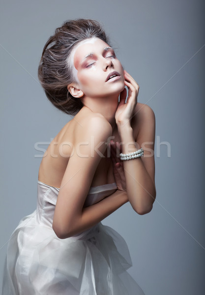 Performance. Active cute woman acting. Creative makeup Stock photo © gromovataya