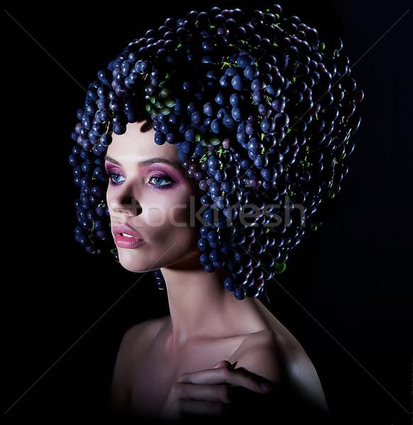 Fashion model woman with grapes of wine Stock photo © gromovataya