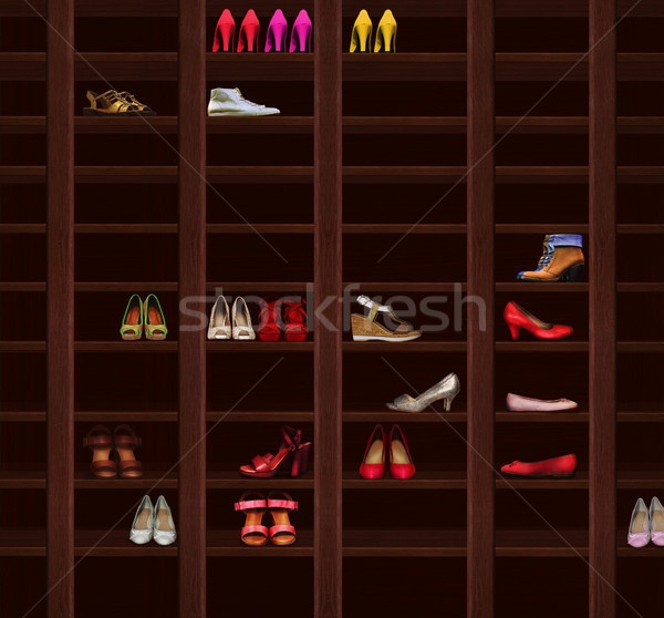 Wardrobe. Brown Wood Shelves with Women's Shoes. Fashion Footwear Stock photo © gromovataya
