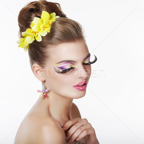 Creativity. Portrait of Fancy Woman with Long False Eye Lashes Stock photo © gromovataya