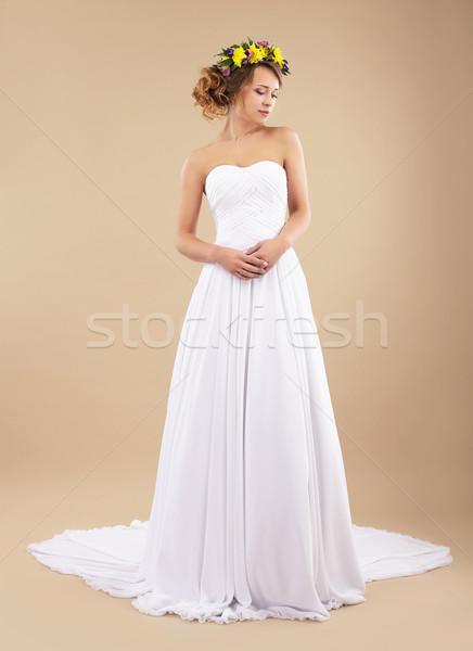 Sencillez minimalismo auténtico mujer flores silvestres clásico Foto stock © gromovataya