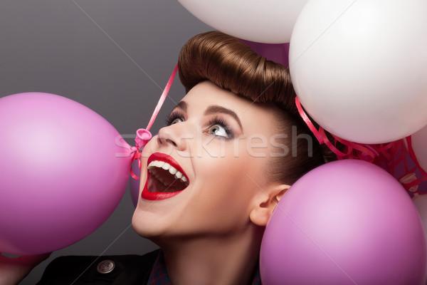 Cheerful Girl with Air Balloons Having Fun - Expression Stock photo © gromovataya
