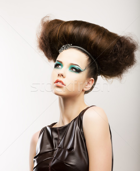 Fetish. Artistic Expressive Brunette with Frizzy Hairstyle. Creative Styling Stock photo © gromovataya