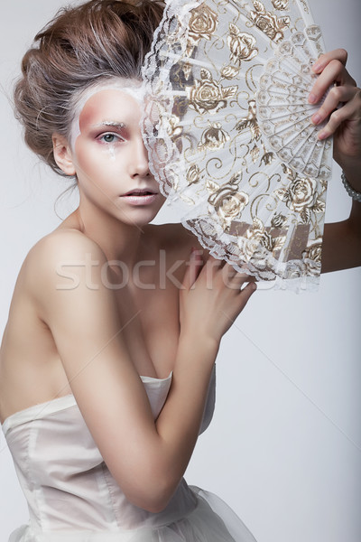 Beauty woman in rertro dress. Retro vintage style, renaissance Stock photo © gromovataya