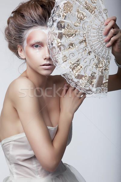 Bellezza donna abito retro vintage stile Foto d'archivio © gromovataya
