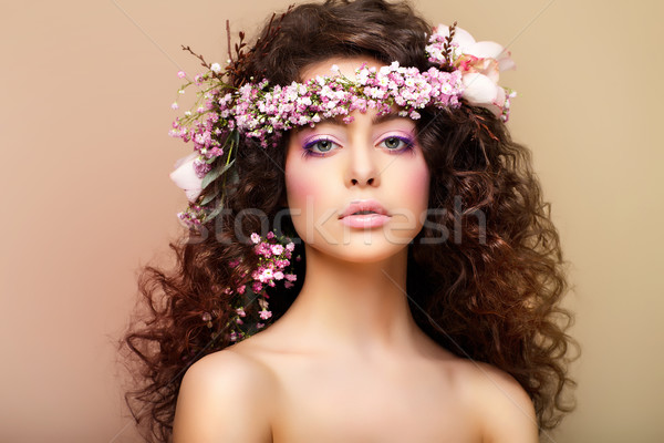 Purity. Freshness. Virginity. Attractive Charming Woman with Frizzy Hairs Stock photo © gromovataya