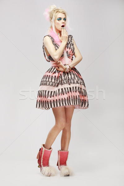 Fashion Style. Surprised Eccentric Woman in Trendy Dress. Amazement Stock photo © gromovataya