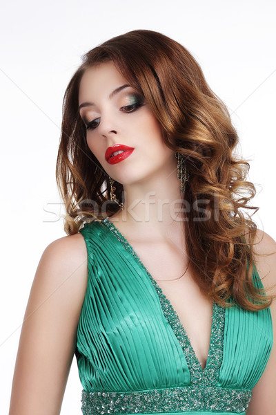 Stylish Gorgeous Lady with Jewels Looking Down Stock photo © gromovataya