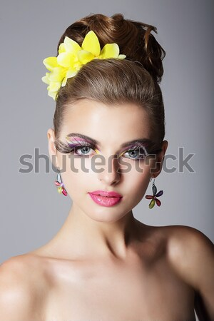 Beautiful woman - vernal happy young girl with flowers closeup Stock photo © gromovataya