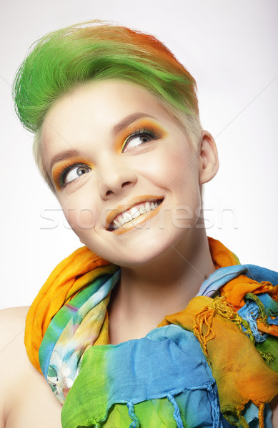 Funny Smiling Woman with Colored Hairs Looking Up Stock photo © gromovataya