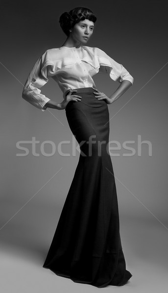 Elegance. Luxurious Genuine Lady in Classic Long Black Dress. Aristocracy Stock photo © gromovataya