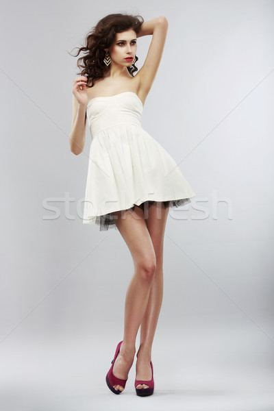Minimalism. Fashion Style. Stylish Woman in Light White Dress. Summer Collection Stock photo © gromovataya