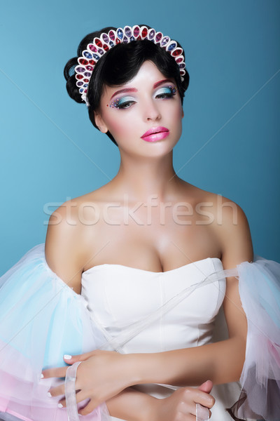 Inspiráció divat modell drámai színpadi smink Stock fotó © gromovataya