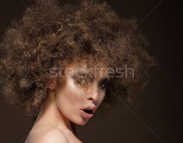 Trendy Charismatic Woman with Frizzy Hairdo Stock photo © gromovataya