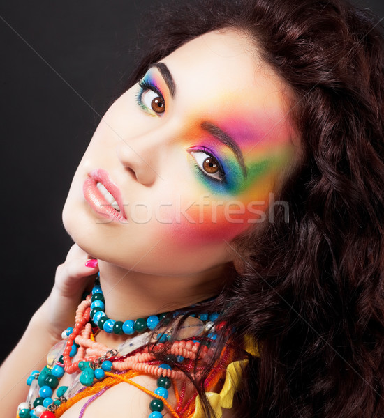 Creative colorful makeup - fashion beauty woman painted face Stock photo © gromovataya
