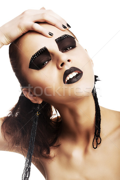 Expressief emoties funky vrouw gek Stockfoto © gromovataya