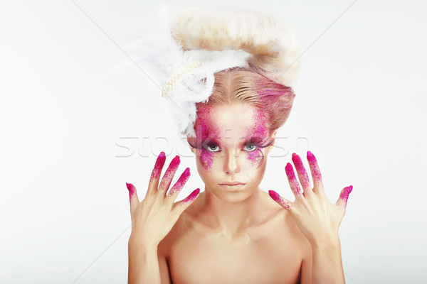 Creative Makeup. Outre Woman's Spotted Face and Stained Fingernails Stock photo © gromovataya