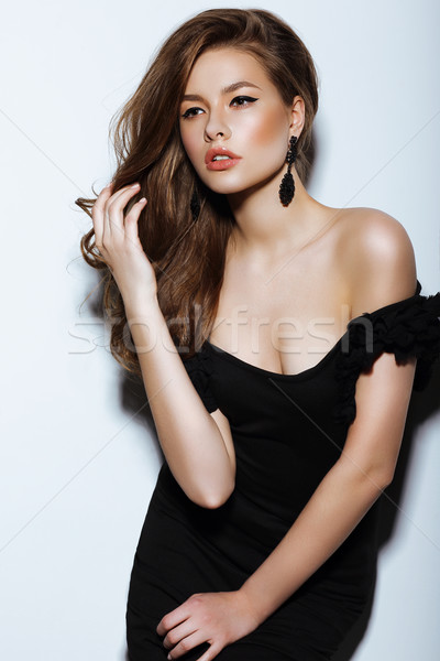Individuality. Thoughtful Elegant Lady in Black Prom Dress Stock photo © gromovataya