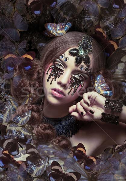 Inspiráció nő fantasztikus pillangók divat szemek Stock fotó © gromovataya