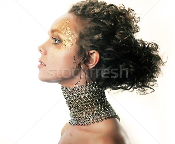 Makijaż modny dziewczyna jasne fryzura moda Zdjęcia stock © gromovataya