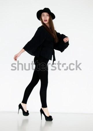 красоту Sexy Girl брюнетка ретро одежду Hat Сток-фото © gromovataya
