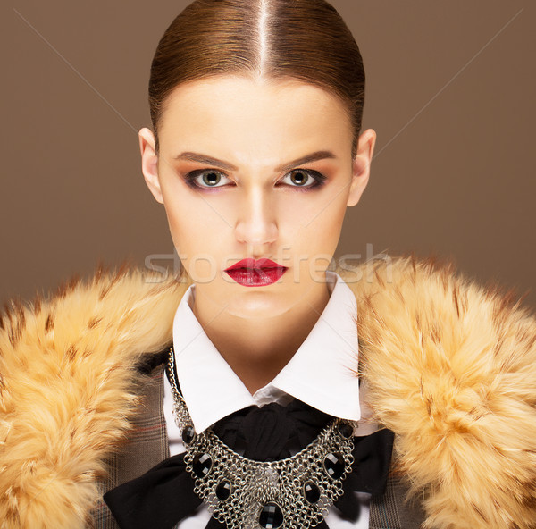 Elegance. Sophisticated Haughty Woman in Fur Collar. Lifestyle Stock photo © gromovataya