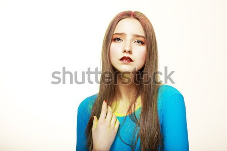 Art. Cute Woman with Modern Colorful Make-up. Fashion Style Stock photo © gromovataya