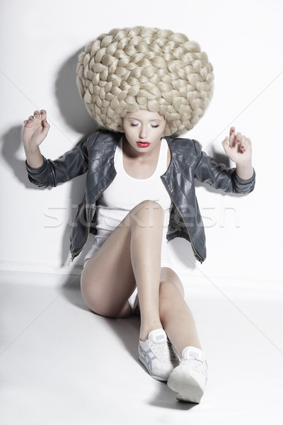 Extravagance. Eccentric Blonde Hair Model with Fantastic Updo Coiffure Stock photo © gromovataya