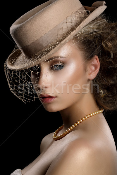 Charm. Retro Styled Romantic Woman in Vintage Brown Hat and Veil. Nostalgia Stock photo © gromovataya