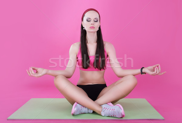Yoga. Calm Woman Relaxing with Closed Eyes. Meditation Stock photo © gromovataya
