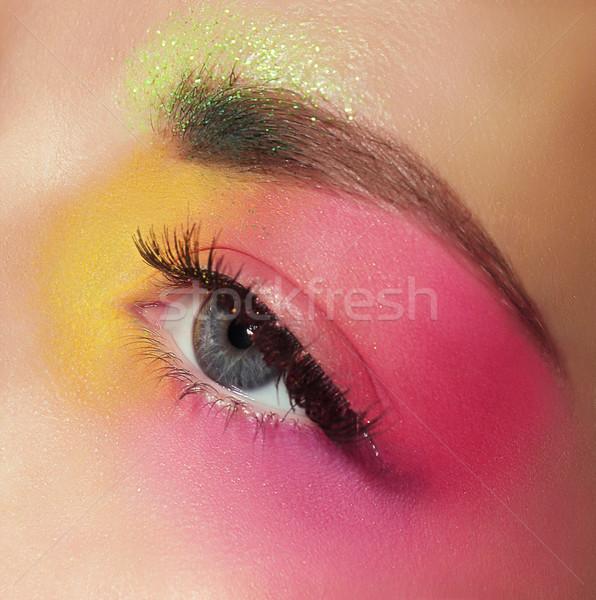 Cosmetica mascara oog kleurrijk make meisje Stockfoto © gromovataya