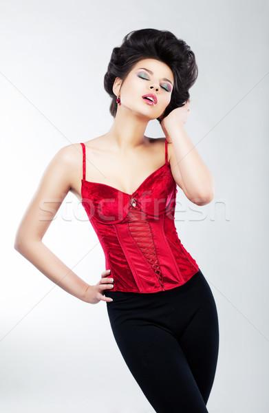 Szexi karcsú álomszerű kecses nő smink Stock fotó © gromovataya