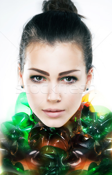 Art portrait of young attractive girl brunette close up Stock photo © gromovataya