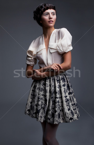 Lovely aristocratic fashion model in retro clothes posing Stock photo © gromovataya