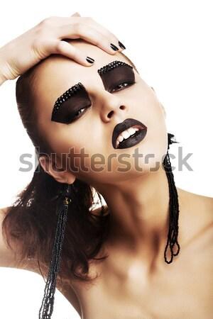 Egyéniség arc rendkívüli hippi extrém smink Stock fotó © gromovataya