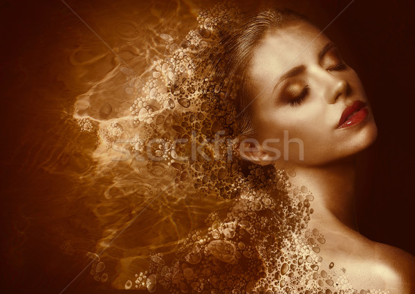 Golden Splatter. Futuristic Woman with Bronzed Painted Skin. Fantasy Stock photo © gromovataya