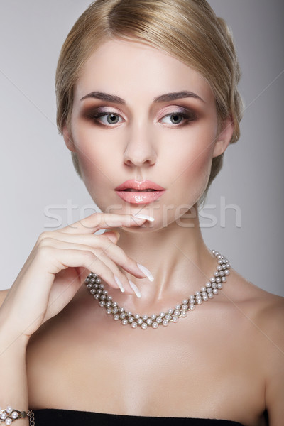 Sophisticated Aristocratic Posh Lady with Pearly Necklace Stock photo © gromovataya